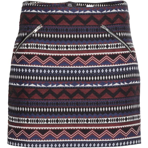 H&M Jacquard-weave skirt ($31) ❤ liked on Polyvore featuring skirts, black skirt, h&m skirts, short skirts, h&m and jacquard skirt