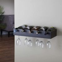 Features:  -Modern wine rack that holds up to five standard wine bottles.  -Hidden tracks underneath hold up to 12 wine glasses.  -Attached to wall with concealed support.  Product Type: -Wine Bottle