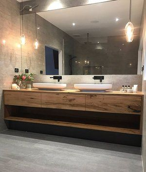 Complete and utter bathroom envy. Love, love, LOVE what Bianca has done with her bathroom!  #bathroomevny #inspired #timbervanity #bathroominspiration  #messmate #luxury #newbathroom #amazingclients #madeintorquay #bomboracustomfurniture #bomboravanity