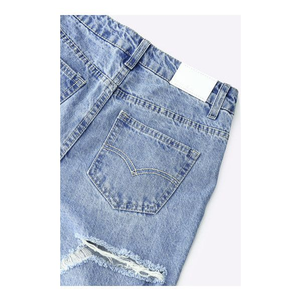 Yoins Classic Butt Rip Jeans in Light Blue ($40) ❤ liked on Polyvore featuring jeans, high rise jeans, destructed jeans, light blue ripped jeans, high waisted ripped jeans and ripped blue jeans