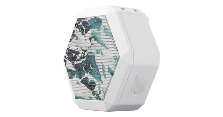 Ocean waves sea nature blue water beautiful white bluetooth speaker on zazzle.com for ($80.40). Revolutionary acoustic and industrial design, a noise-canceling microphone and a built-in clip. Boombot REX has dual 36mm drivers, soft touch coating, water resistant, medical grade rechargeable battery. -Dimensions: 85mm W X 80mm H X 54mm Diameter -In-the-box: (1) 3ft 1/8-inch AUX & (1) micro USB cables -Loudness: 94DB at 2ft -Runtime: 8 hours -Charging: 1 hour -Indicator: Full color hexagonal…