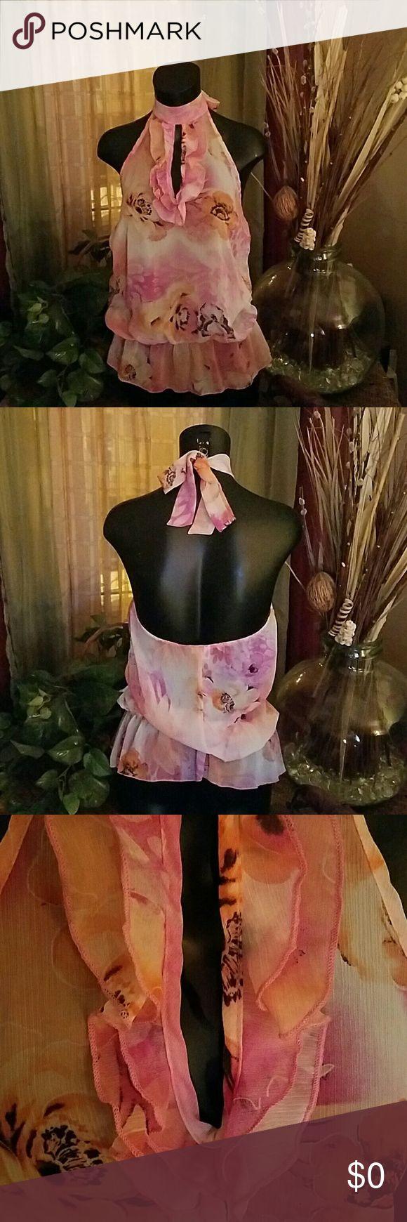 Very Sexy Sheer Top Sheer material, open back, elastic waist. Never worn. Tops Blouses