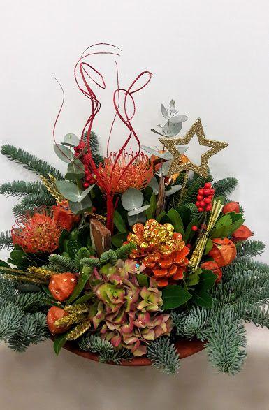 Christmas center piece bronze ceramic pot large Χριστουγεννιάτικη σύνθεση σε κεραμικό