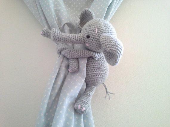 Elephant Curtain Tie Back Crochet Elephant Amigurumi by MonoBlanco