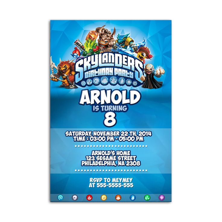 skylanders Design Kids Birthday Invitation Party Design