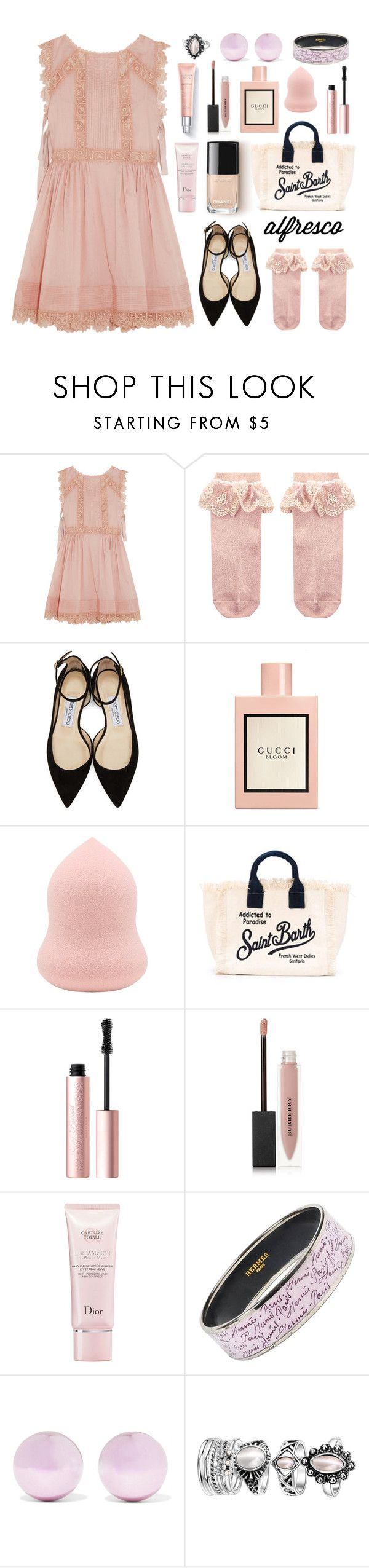 """""""#alfrescodining"""" by lillyluvs ❤ liked on Polyvore featuring RED Valentino, Monsoon, Jimmy Choo, Gucci, MC2, Too Faced Cosmetics, Burberry, Christian Dior, Hermès and J.W. Anderson"""