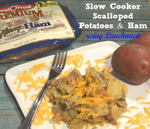 Frugal Slow Cooker Scalloped Potatoes with Lunchmeat