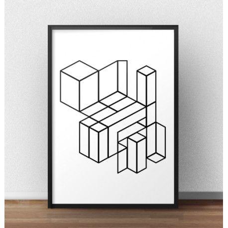 Plakat geometryczny przedstawiający bryły w kształcie klocków