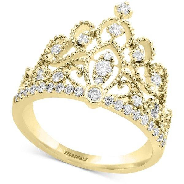 D'oro by Effy Diamond Crown Statement Ring (3/8 ct. t.w.) in 14k Gold ($1,400) ❤ liked on Polyvore featuring jewelry, rings, yellow gold, crown rings, gold ring, diamond cocktail rings, gold statement ring and gold crown