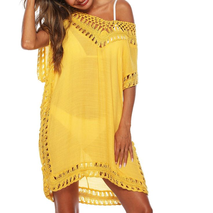 2019 Summer Kaftan Tunic Beach Dress Lady Cover Up Boho Dress V-Neck Bikini Dres…