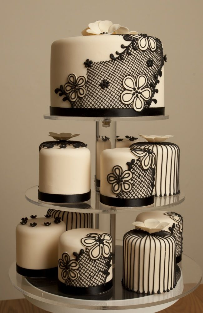 Black and cream mix and match cakes