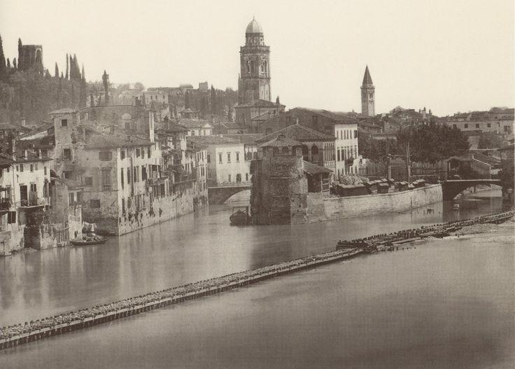 1875 La biforcazione dell'Adige all'altezza dell'Isolo con il ponte Pignolo che univa questa pittoresca zona al resto della città.
