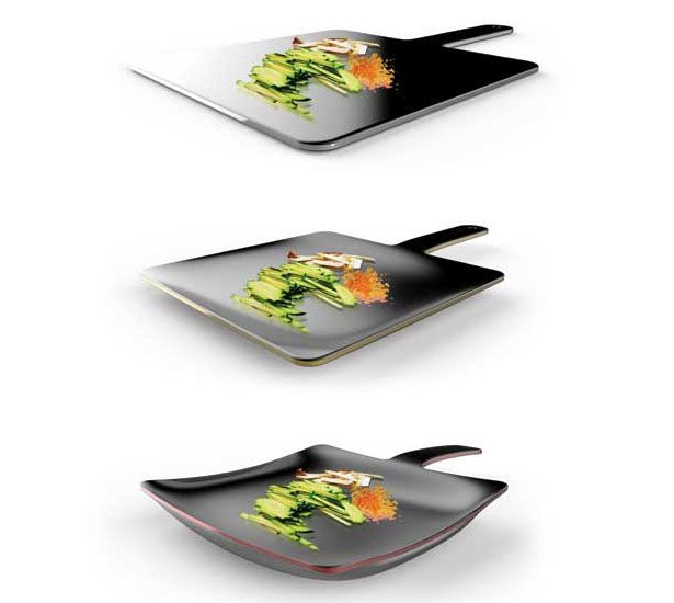 Curling Pan is a combination between a flat cutting board and a frying pan; 2 functions in one kitchen tool. When the pan is heated, the edges curl up to form an ideal frying pan shape; thanks to shape-memory allow that has a 2-way memory effect. Designers : Lee Jee Won and Lee Juan