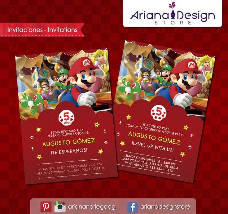 #printable #invitation #mariobros #arianadesignstore #invitacion #supermario #fiestainfantil #cumpleaños #nintendo