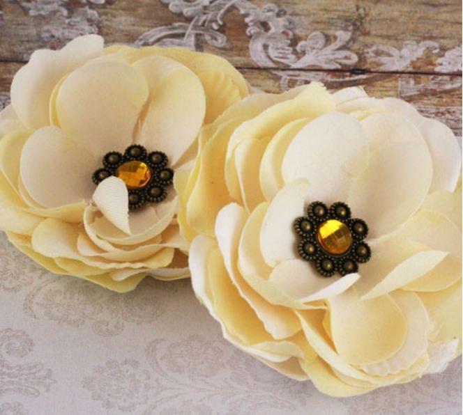 Prima Fabric Flowers Aria - Ivory. $4.00, via Etsy.