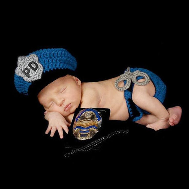 1set Crochet Newborn Baby Police Outfit Hat Knitted Photo Props Infant Costume #Unbranded