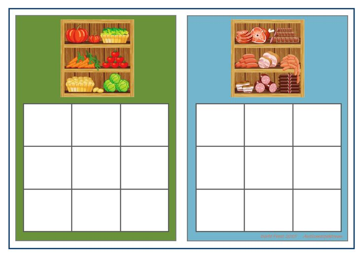 Board for the vegetable/meat sorting game. Find the belonging tiles on Autismespektrum on Pinterest. By Autismespektrum