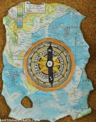 5th grade European explorer art - exploration technology design on burned map