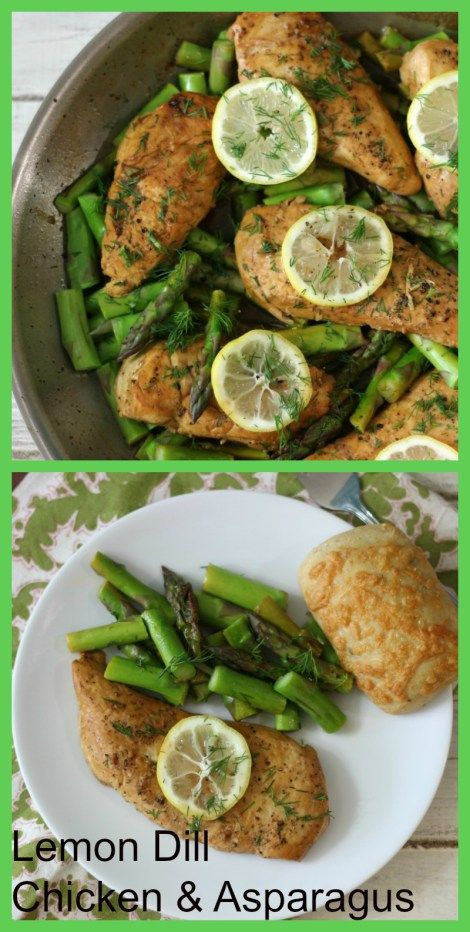Lemon Dill Chicken and Asparagus - Tender juicy lemon flavored chicken with steamed asparagus and fresh dill for a refreshing flavor.
