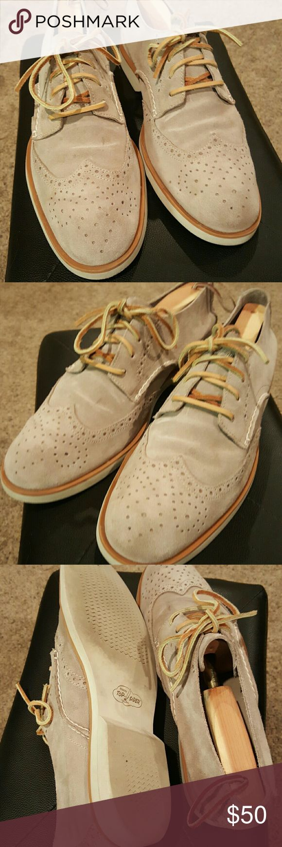 Sperry Top Siders Men's Grey Suede Wingtips Excellent Condition 9/10. Soft grey suede with contrasting White Soles. Lite wear on soles. Size 11 Sperry Top-Sider Shoes Oxfords & Derbys