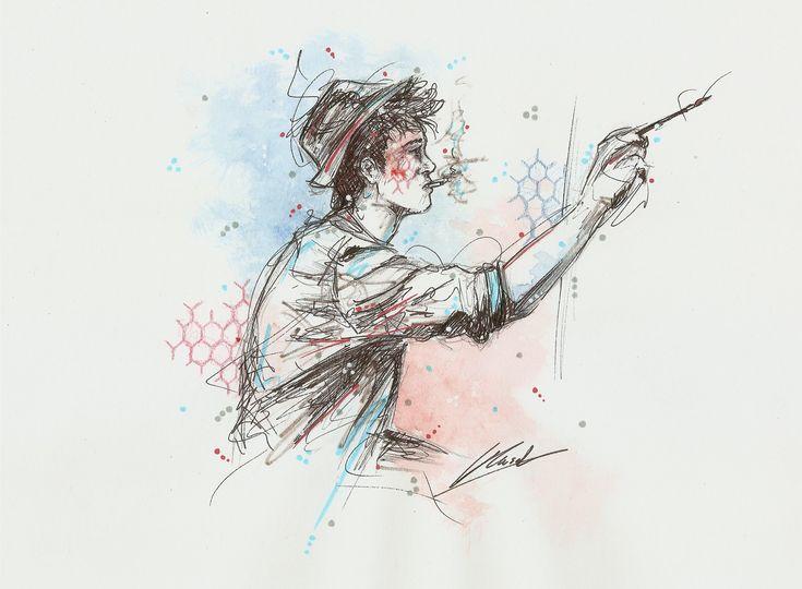 Crystal Rousset nous présente son univers.  Elle travaille principalement le portrait et son trait s'apparente à la gestuelle du croquis. Elle ajoute des motifs biomorphiques ainsi que des points. Pour ce qui est de son matériel, Crystal utilise des stylos noir, pour ce qui est de la couleur, ce sont les feutres, l'aquarelle et les crayons de couleur, une touche de Posca blanc est ajoutée ensuite. Les artistes qui inspirent Crystal sont, entre autres, Dali, Elisabeth Moch, Banksy...