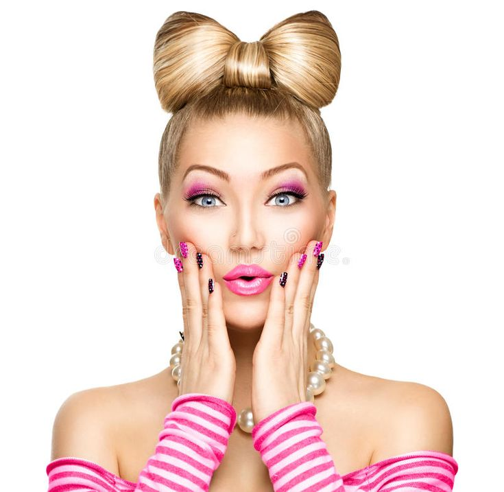 Beauty surprised girl with funny bow hairstyle. Beauty surprised fashion model g…