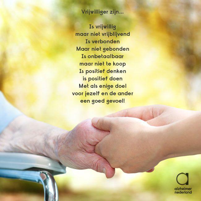 Met dit gedicht bedanken wij alle vrijwilligers die zich inzetten voor mensen met dementie. Niet alleen degenen die dat via onze stichting doen, maar ook anderen die bijvoorbeeld ouderen met dementie in verpleeghuizen bezoeken. Dankzij jullie is het leven van deze mensen een beetje zonniger. #vrijwilligersdag