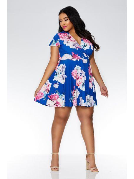 642cc91961a1 QUIZ - Curve Royal Blue Floral Wrap Skater Dress - 2018 | - My Print ...