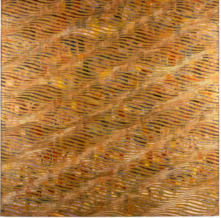Taaffe Philip -Mangrowe-   Un movimento ondulatorio serra lo spazio della tela con effetti fortemente decorativi. Linee ricurve dall'andamento orizzontale ricordano inoltre il paesaggio marino, la scioltezza del pennello che scorre sulla tela  invita a quello stile di vita agiato con cui spesso gli americani identificano 'l'antica' cultura del mediterraneo.