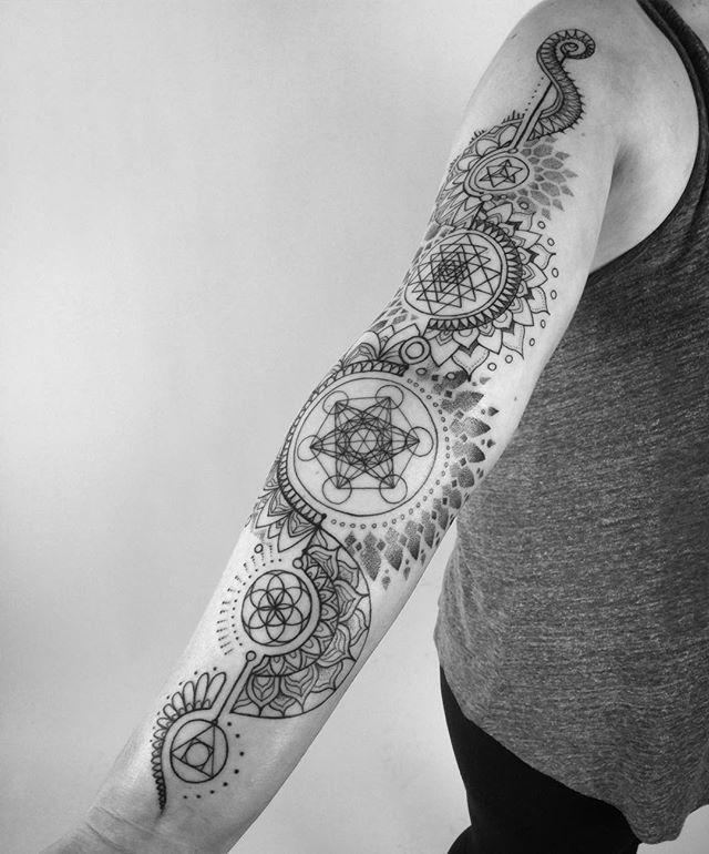 "BIG INSPIRATION FOR MY ""BELIEVE IN YOUR OWN MAGIC"" SLEEVE. I Like: Symbolism, Geometrics, Physics symbolism, Religion, Fantasy, Sorcery, mystical combined in mandala style sleeve."