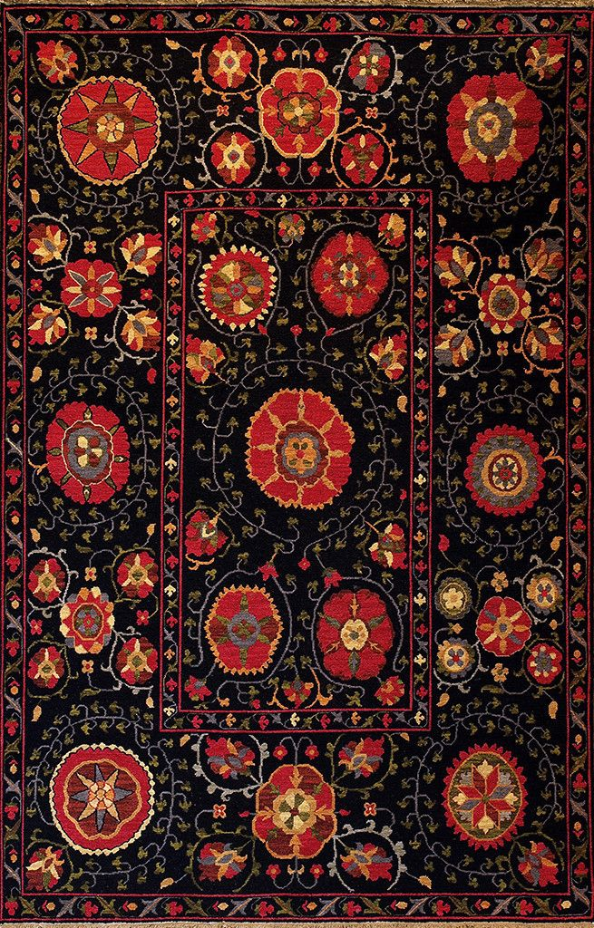 Indian Night Suzani (red   Suzani Design 7) By A Rug For All Reasons