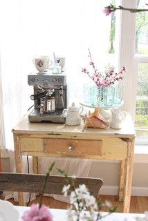 Coffee, Corner, Old Table, Cake Platter, Coffee Maker, Milk Jug,