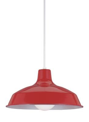 The Painted Shade pendant collection by Sea Gull Lighting features steel construction and is available in seven outer colors including White, Red, Painted Brushed Stainless, Emerald Green and Painted Antique Brushed Copper – all with a White interior.