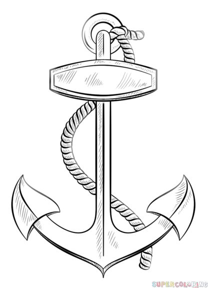 how to draw an anchor with rope step by step  drawing