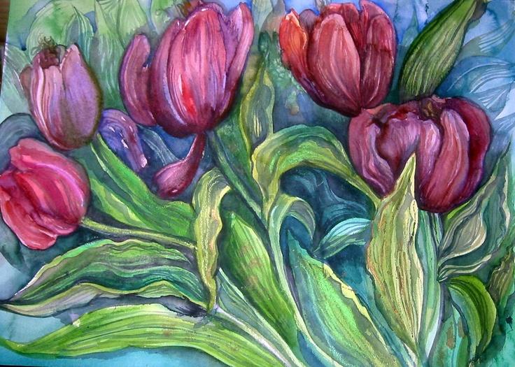 Purple Tulips Original Floral Watercolor, Tulips, Watercolor Painting, Floral Art, Home Decor, Purple Flowers.