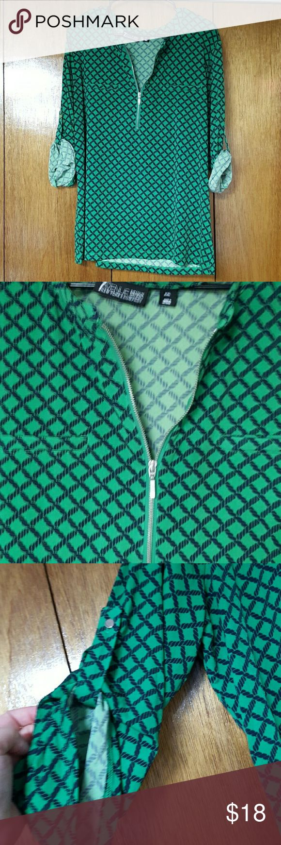 Green half zip 3 quarter sleeve shirt Really pretty green half zip 3 quarter length sleeve shirt from New York and Company 7th avenue collection. Sleeves can be worn slouchy or rolled.  Only worn once! Xxl New York & Company Tops Blouses