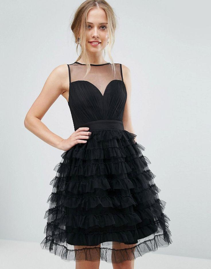 Little Mistress Tiered Tulle Mini Dress - Black