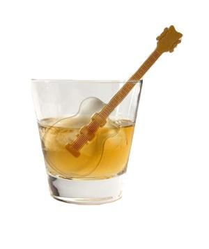 Cool Jazz Guitar Ice Kabob Tray   Add a splash of fun to summertime drinks with ice cubes in unique shapes and sizes.