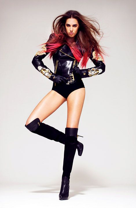 Amber LeBon in Fausto Puglisi Over The Knee Boots. Fausto Puglisi Fall/Winter 2012 Look Book.: Amber Lebon, Boots Outfits, Fausto Puglisi, Fashion Art, Boots Fashion, Knee Boots, Bright Hair Colors, Hair Color Pink