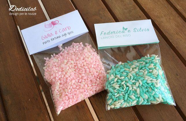 Sacchettini personalizzati con riso colorato