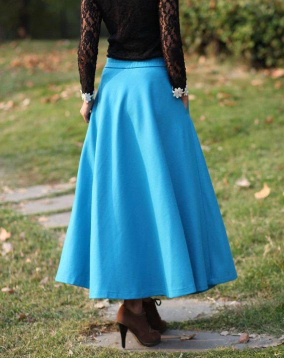 Elegant Winter Skirt Wool Skirt Winter Maxi Skirt Wool Dress A-line Long Skirt In Acid Blue-WH175