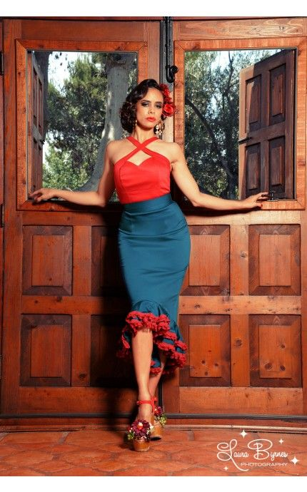 Spanish Capsule Collection Deadly Dames Flamenco Ruffle Mermaid Skirt in Teal with Red Lace.   Pinup Girl Clothing