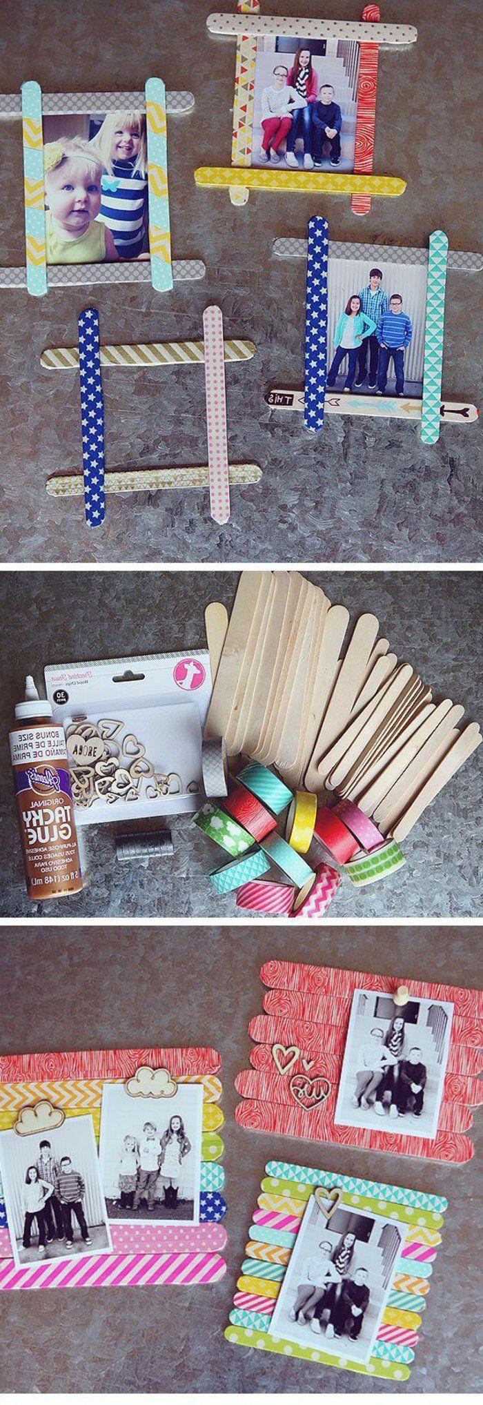 des-cadres-photos-fabriquées-à-partir-de-batonnets-de-glace-customisés-à-l-aide-de-washi-tape-multicolore-photos-enfants