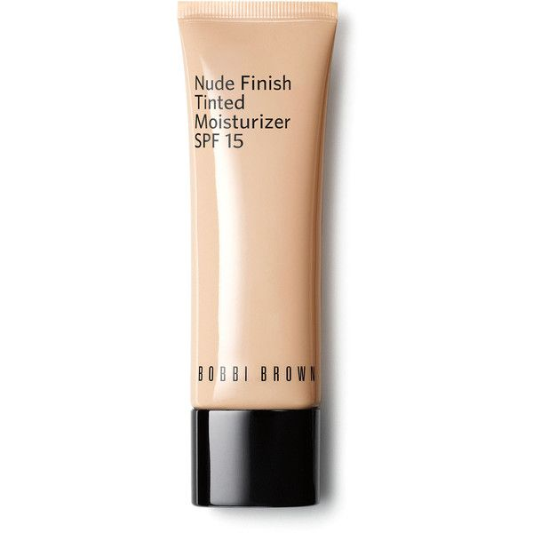 Bobbi Brown Nude Finish Tinted Moisturizer found on Polyvore featuring beauty products, makeup, face makeup, tinted moisturizer, light to medium and bobbi brown cosmetics