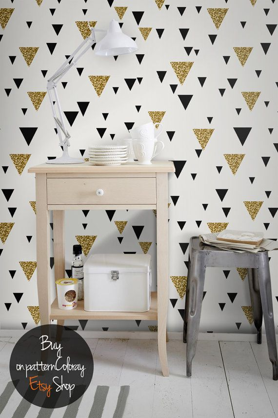 Geometric Triangle Wallpaper Gold Accent L And Stick Removable 25
