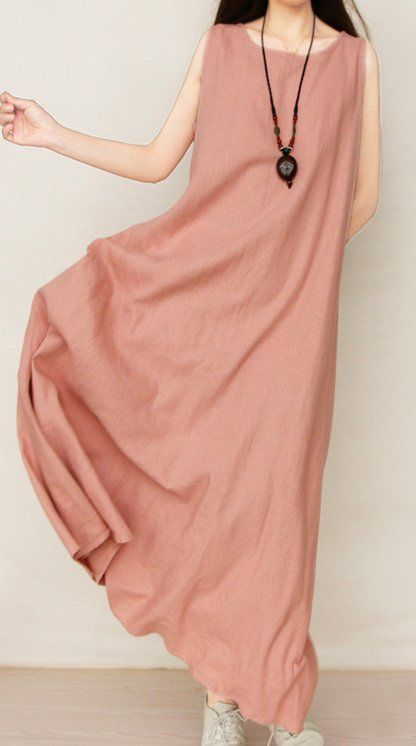 Women loose fit over plus size Bohemian dress flax linen maxi long tunic #Unbranded #dress #Casual