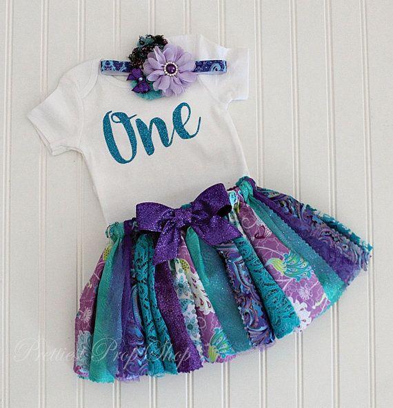 Peacock Birthday Outfit Fabric Tutu Baby Girl by PrettiestPropShop