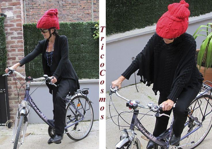 """Bonnet pour casque de vélo Modèle """"Bubble Double"""" Rouge : Chapeau, bonnet par belle-en-casque"""