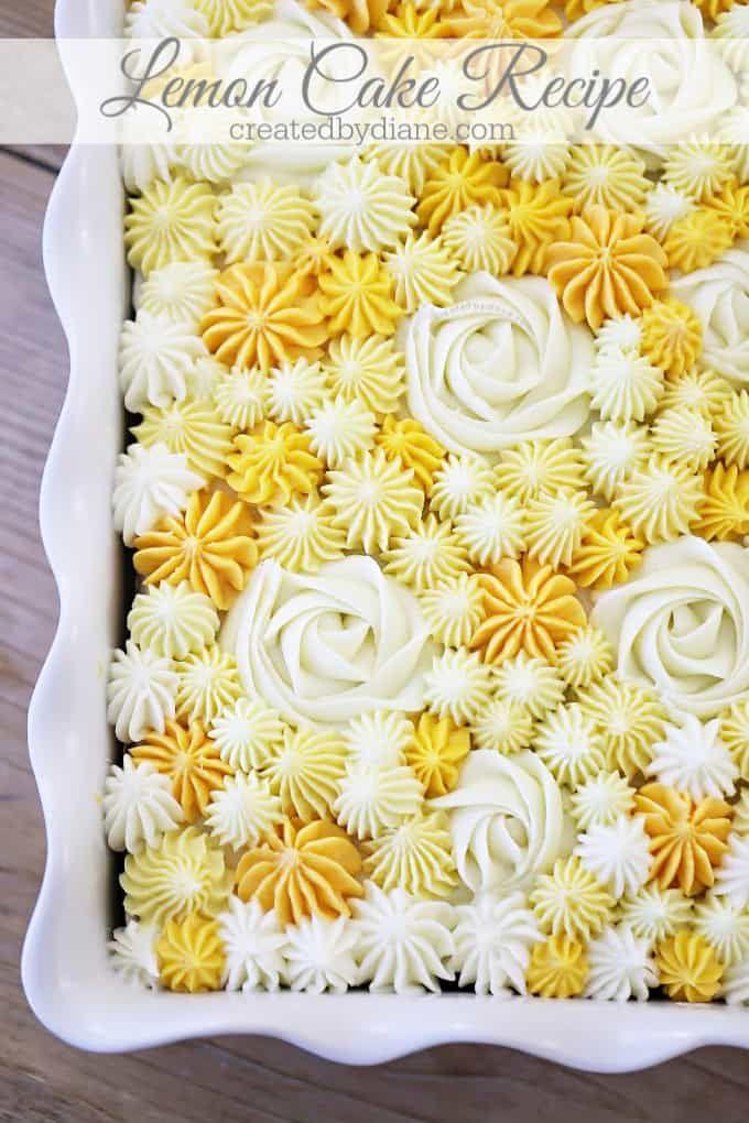 Lemon Cake Recipe With Pretty Yellow Frosting Createdbydiane Com In 2020 Lemon Cake Mix Recipe Sour Cream Cake Lemon Sheet Cake Recipe
