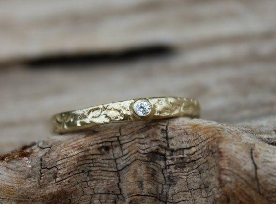 diamante libero conflitto e riciclati 14 k giallo oro anello di fidanzamento. anello con diamante bianco personalizzato semplice. unico anel...
